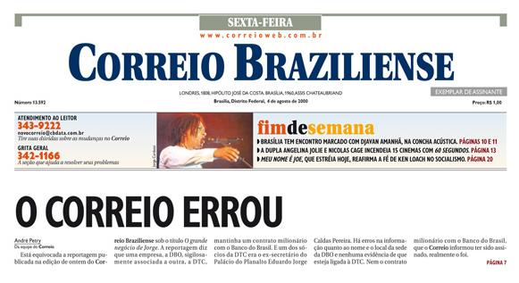 Así pide perdón el Correio Brazilense